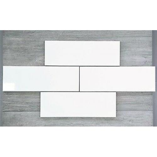 Glossy Flat White Wall Tile 300mm x 100mm