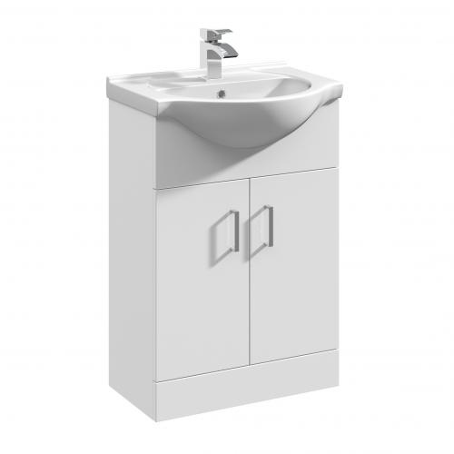 Mayford White Vanity Unit 550mm 1 Taphole - Round Basin