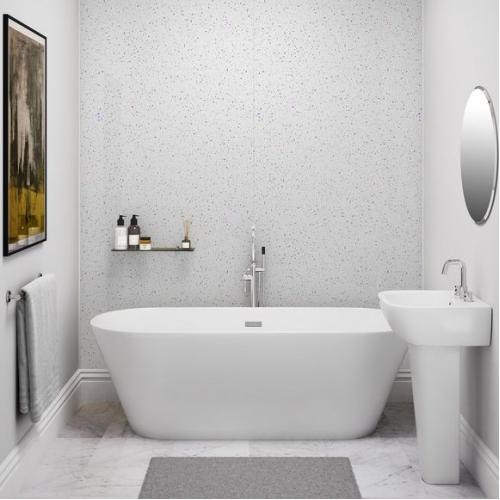 PVC Large Splash Panel White Crystal 2400mm x 1200mm