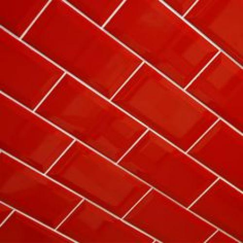 Biselado Red Wall Tile  200mm x 100mm