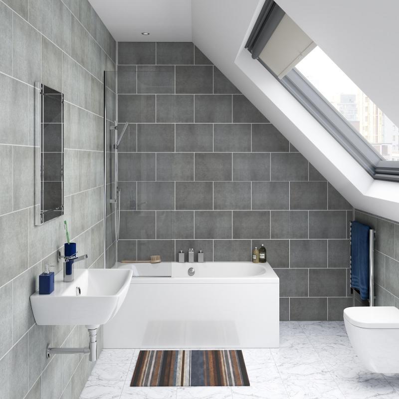 Stone Graphite Tile Effect PVC Wall Cladding - 2800mm x ...